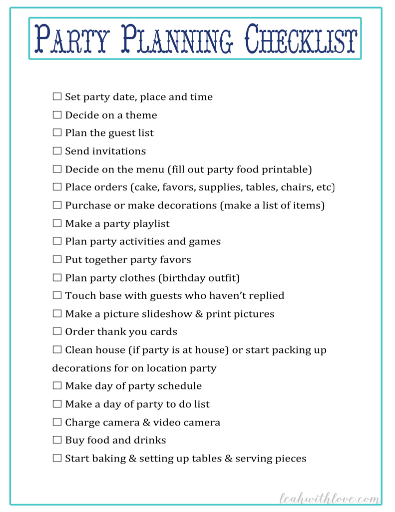 Doc580751 Birthday Party Planning Checklist Template FREE – Party Planning Templates